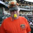 My group and I had the honor of reporting on the crazy Ducks fans we found at the stadium. When we say Duck fans, we mean guys that have plush ducks strapped to their heads and bright orange tee shirts.