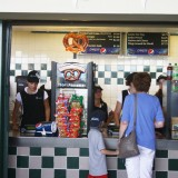 No matter the game, there's always time for a trip to the concession stand. This was during the Long Island Ducks vs. Southern Maryland Blue Crabs game Tuesday, July 24, 2012, at Bethpage Ballpark. Photo by Rachel Siford