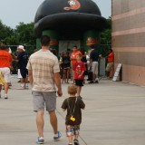 A father and son attend the Long Island Ducks game on July 24th, 2012. Photo by Matthew Maron