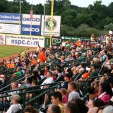 Long Island Ducks fans assemble at Bethpage Ballpark on July 24, 2012 to watch the Ducks play the Blue Crabs. Photo by Matthew Maron