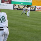 James McOwen and Shawn Williams warm up before the game at Ducks Stadium on July 24, 2012. Photo by Alexandra Henaghan