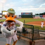 "QuackerJack quacks ""Happy Birthday"" to four of his young fans on July 24, 2012 at Bethpage Ballpark. Photo by Lyla Dale"
