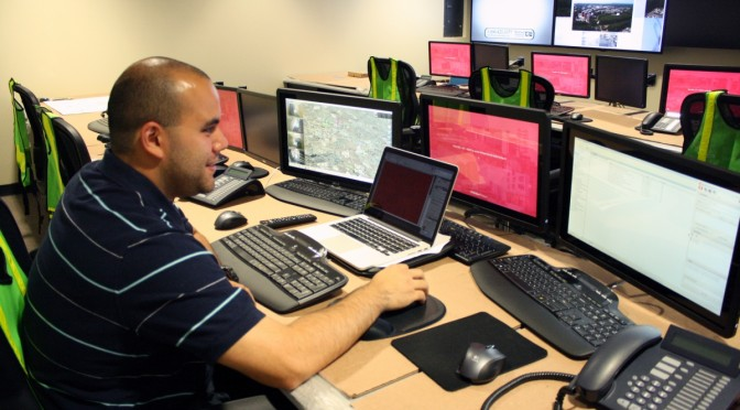 Steven Wong, the program analyst for the Stony Brook Police department at work at the new command center. (Jacqueline Napolitano)