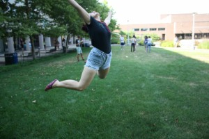 "Kayla ""Jumping for Joy"" while I captured the action shot"