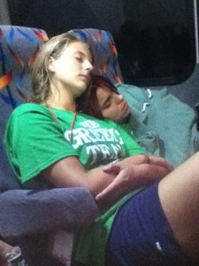 Lisa Angell and Kayla Aponte sleeping. Photo Cred: Hanna Da'Mes