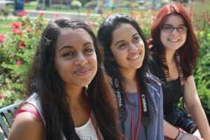 Hanna, Sharon and Kayla (from left) helping me practice depth of field