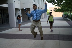 Profesor Ahmad jumping to help us get a good photo as we practiced newly learned skills.