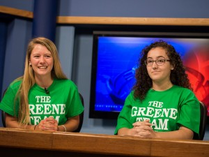 Madison Flotteron and Courtney Taylor anchoring at the Stony Brook University School of Journalism broadcast studio on Wednesday, July 23, 2014. Photo by Wasim Ahmad.