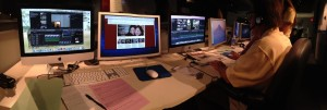 A panoramic shot my work station Thursday night. Professor Ricioppo sitting in Kelly's seat, helping her with editing.