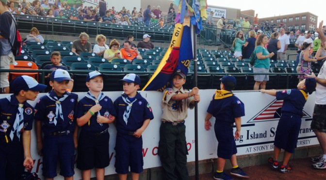Cub scouts from Pac-12 League attend a Long Island Ducks game at Bethpage Ballpark on Wednesday, July 23, 2014. Photo by Madison Flotteron.